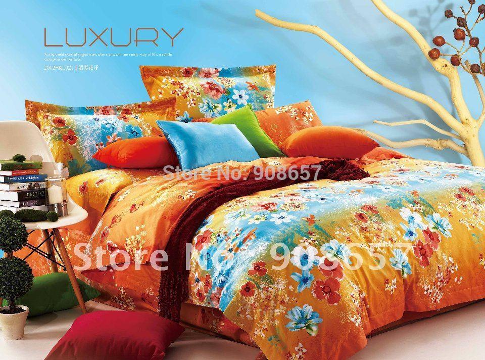 Blue floral comforter sets queen reviews online shopping - Red and orange comforter sets ...
