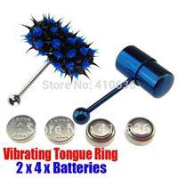 2Pcs Vibrating Tongue Bar/Ring + 8 Free Batteries for Body Piercing BJA-010+004
