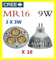 Best~High power CREE led lamp 3x3W 9W E27/GU10/MR16 12V Led Lights Led Spotlight Bulbs Downlight 10pcs free shipping
