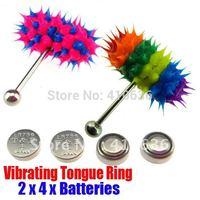 2Pcs Vibrating Tongue Bar/Ring + 8 Free Batteries for Body Piercing BJA-012+006