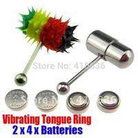 2Pcs Vibrating Tongue Bar/Ring + 8 Free Batteries for Body Piercing BJA-013+003