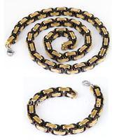 A Set Of 9.5mm Gold&Black Stainless Steel Strong Men's Necklace&Bracelet