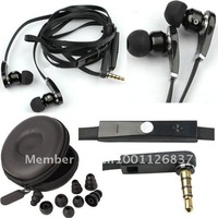 fast shipping NEW 3.5mm black Earphone Headphone Earbud WIth microphone talk volume control for iphone 4 4th 4s