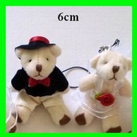 Wholesale 50pair/Lot New H=6cm Plush Wedding Bear Groom Bride Pendant Stuffed For Key/Car/Phone/Bag Christmas Gifts Toys