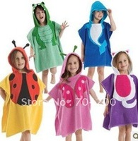 5 pieces/lot-New Arrival Baby Hooded Poncho kidsbath towel/Animal Modeling Swimming bathrobe