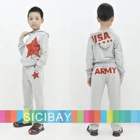 Designer Sale Free Shipping Boys Leisure Suit Hooded Tops+Star Pattern Trousers Casual Set for Autumn  K0191