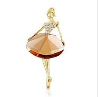 Oh0080 ballet girl fashion elegant big gem brooch