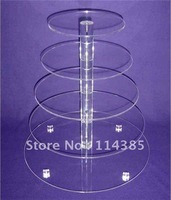 5 Tier 5mm Thick Round Maypole Clear Acrylic Wedding Party Fairy Cupcake Display Stand