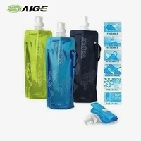 STANDARD SHIPPING COST Water Bags Multicolor Green Portable Food Safety Grade PVC Foldable Water Bags with Metal Carabiner
