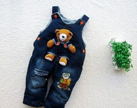 SKZ-204,6 pcs/lot 2012 new style baby thick suspender trousers cartoon boy/girl overalls winter infant jeans wholesale
