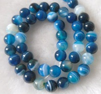 Beads.Agate Beads. Blue stripe agate round beads. 8mm.  .Free shipping. Retail and wholesale