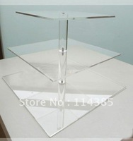 3 Tier 5mm Thick Square Maypole Clear Acrylic Wedding Party Fairy Cupcake Display Stand