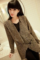 Fashion autumn and winter fashion vintage large lapel dovetail horn button slim trench outerwear female