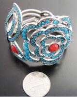 Minimum Order $20 (mixed order)   Vintage Blue Flower With Red Stamen Bangle