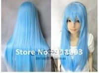 Fashion New Long Cosplay Light Blue Straight Wig 80cm+gift