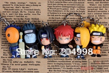 "Free shipping Anime Naruto 1.6"" PVC Action Figure Toy Key Chain (6 pcs/set )"