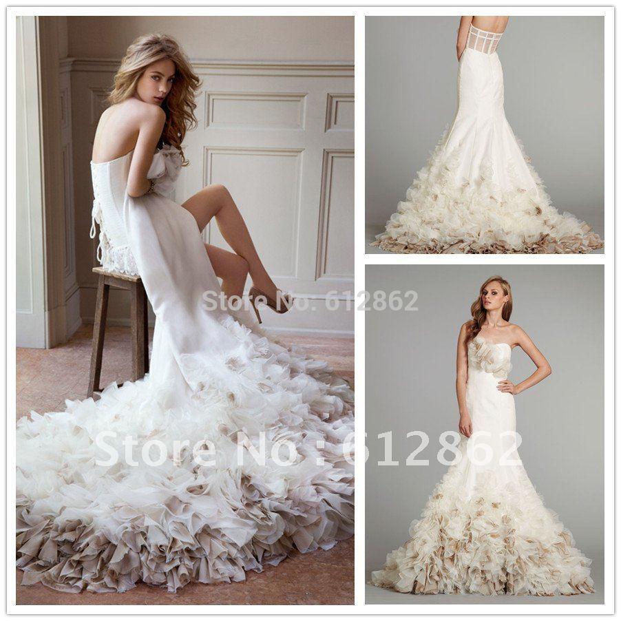 Low Back Mermaid Wedding Dress : Low back mermaid rufffles wedding dresses ruffles from reliable dress