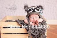 free shipping,30pcs/lot NOVELTY,handmade CROCHET, Lovely small raccoon hat,children's Beanie Caps 100% cotton