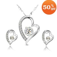 free shipping wholesale fashion women jewelry white gold plated clear crystal heart jewelry sets new arrival 4008