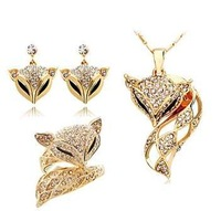 free shipping wholesale fashion women jewelry set gold plated sexy fox crystal jewelry set ks089