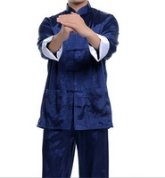 New Blue Chinese men's silk kung fu suit pajamas SZ: M L XL 2XL 3XL Free Shipping WJ2373