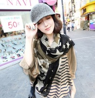 2012 color block lozengy large five-pointed star scarf print chiffon silk scarf cape long silk scarf