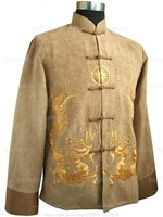 Hot Selling  Chinese Men's Gold KungFu  Embroider Jacket  Coat Dragon Wholesale and retail M L XL XXL XXXL