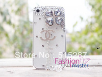 Чехол для для мобильных телефонов Fashion mobile phone case cover for iphone4/4s, clovers flower chain beads, bling rhinestone crystal pearl, 2colours