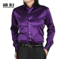 Shirt purple faux silk silks and satins groom formal dress male shirt long-sleeve shirt