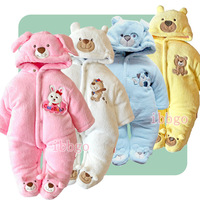 kids girls winter outdoor long sleeves rabbit  jumpsuit with hood boy newborn baby cute wadded overall cotton padded warm romper