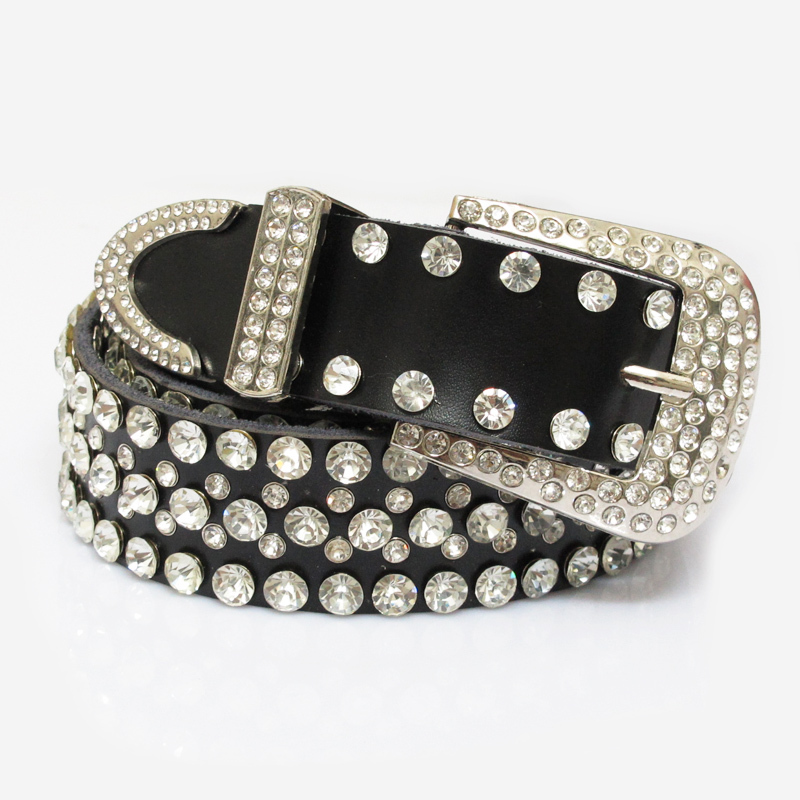 Women's genuine leather pin buckle strap fashion rhinestone cowhide wide belt waist of trousers belt female strap(China (Mainland))