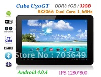 32GB Black Cube U30GT Android 4.0 Tablet PC 10.1 inch IPS Capacitive Screen Dual Core CPU 1.6GHz 1GB RAM Dual Camera HDMI