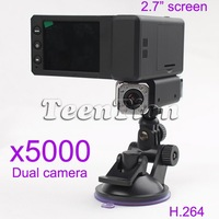free shipping New Full HD X5000 Car DVR recorder Q8 Dual Cameras Dual lens 1440 x 1080P carcam Wholesale and Retail