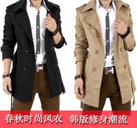 free shipping Autumn - men's clothing male trench medium-long slim tidal current male cloak male outerwear