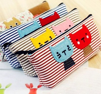 Free shipping!NEW Cute cartoon canvas striped kitten pencil case/ Cosmetic Storage case/ Pen holder pouch/Wholesale PB-42