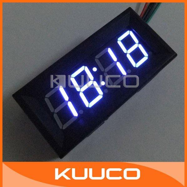 "0.56"" Blue LED Display Clock Car Motorcycle LED Panel Digital Clock DC 7-30V #090816(China (Mainland))"