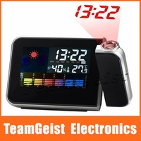 New Digital LED Display Weather Multi-Function Station Projection Alarm Clock , Thermometer Projector Clock & Free Shipping