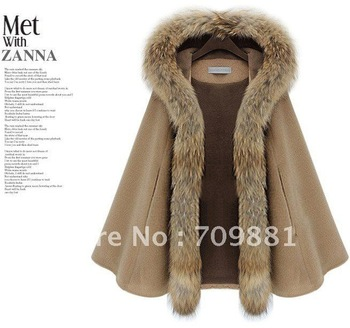 Free shipping Raccoon fur cloak cashmere winter coat woolen outerwear high quality women's cape