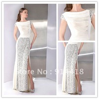 Shipping Free 2013 New Design Cap Sleeves Sequins High Side Slit White Dress