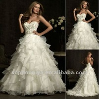 Free Shipping Elegant Ball gown Sweetheart Organza with Beaded White Spring Cheap Sexy fashion bridal dress