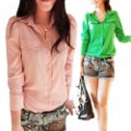 Candy Color Lady Chiffon Lapel Button Down Basic Polo T Shirts Long Sleeve S/M/L E0917