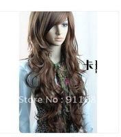 human hair dark brown curly/wavy long wigs#100