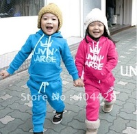 free shipping 2 color 5sets/lot winter style letter printing hoodies+pant kid clothing set 306