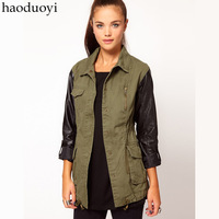 Free shipping army trench with black pu patchwork in sleeve