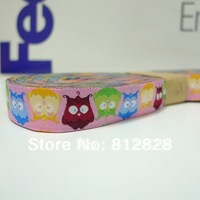 20 Meters 5/8'' 16mm Wide Multi Owl Hot Pink Tone Navy Tone Woven Jacquard Ribbon Free Shipping