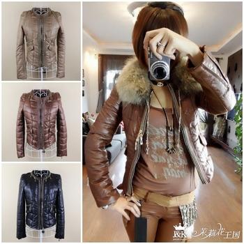 2012 New Women Fashion Cotton Padded Down Jackets Coat Winter Zip OL Short Parka Warm Outwear