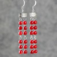 Exaggerated retro earrings red coral earrings long design tassel vintage drop earrings