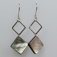 Earrings fashion elegant black square shell crystal vintage earrings women gift