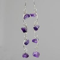 Natural amethyst long design earrings vintage jewelry for women drop earrings