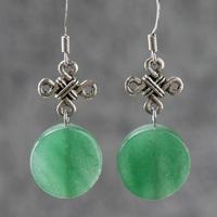 Earring women natural aventurine jade original design handmade accessories fashion silver drop earrings